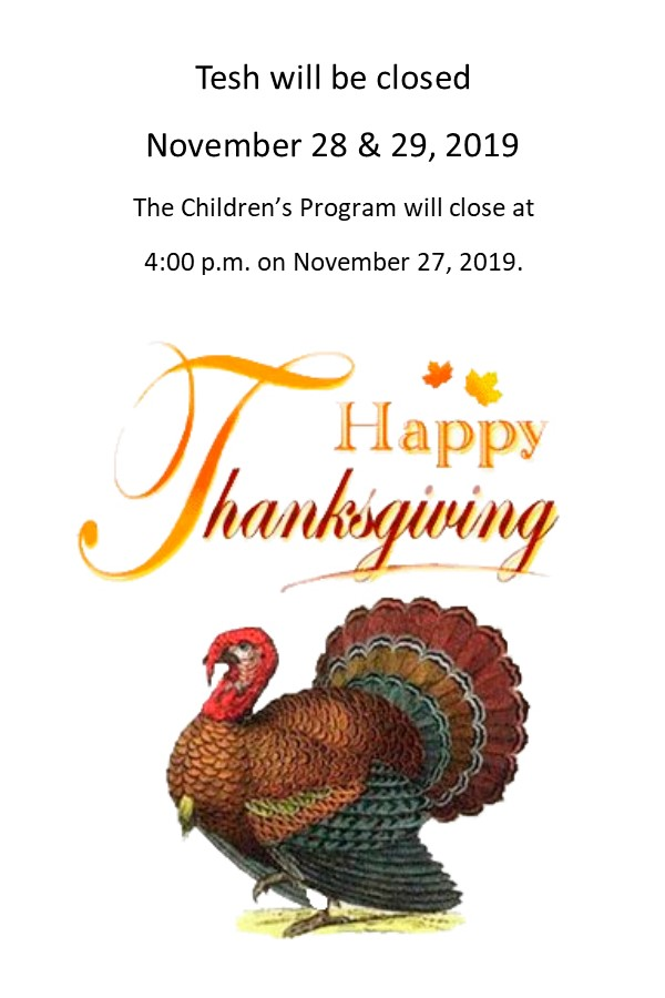 Flyer for Thanksgiving closure